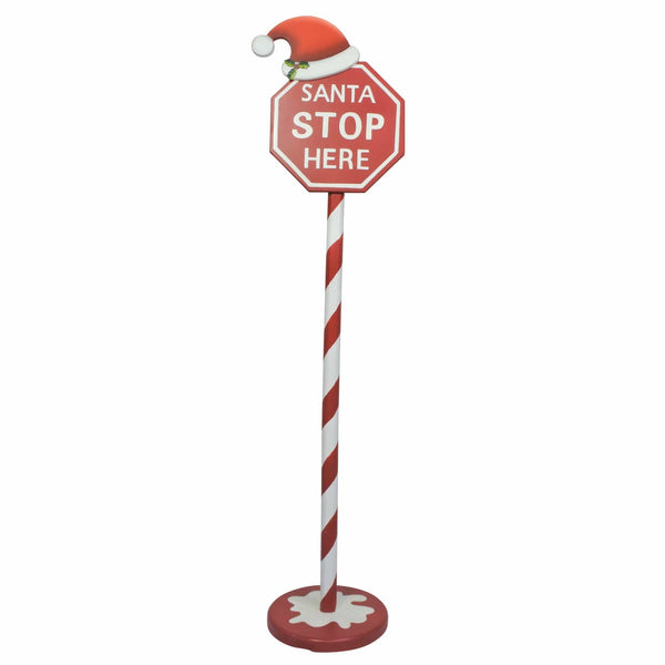 Santa Stop Here Sign with Hat - 125cm