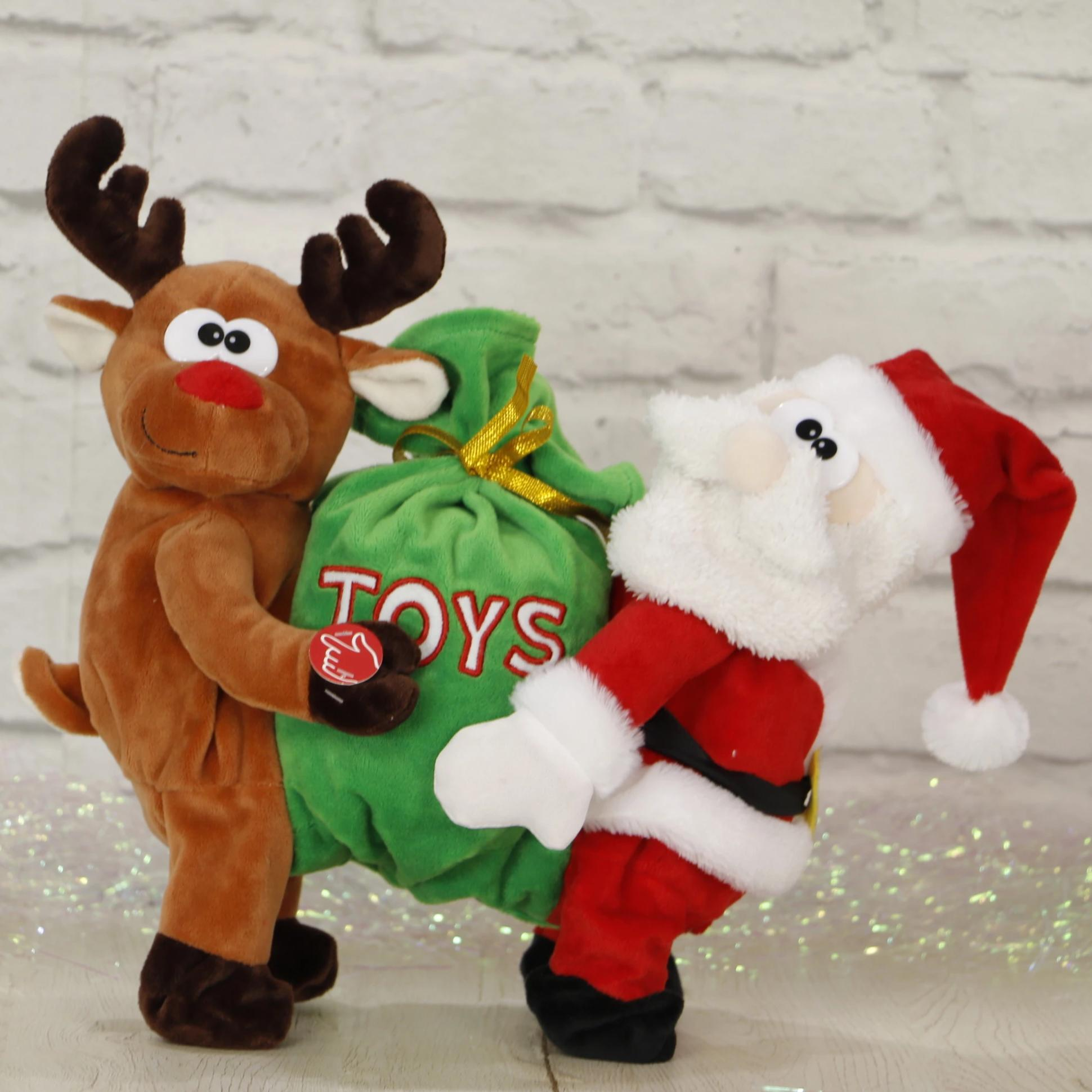 Santa and Reindeer Carrying Toy Sack
