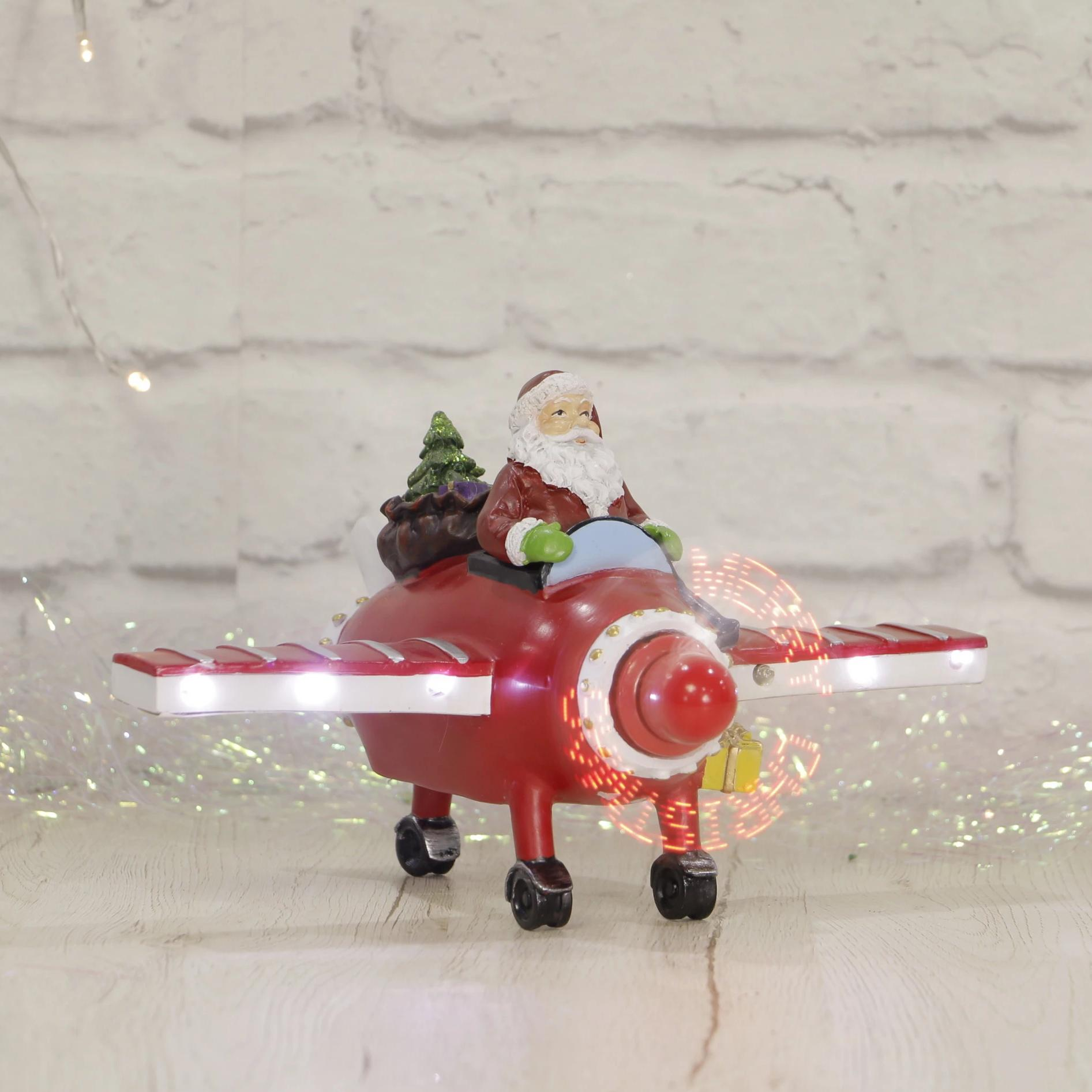 LED Ceramic Santa in Plane
