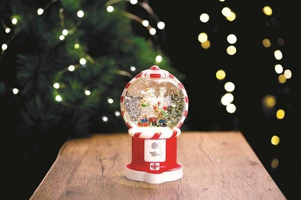 LED Glitter Swirl Santa Gumball Battery Operated