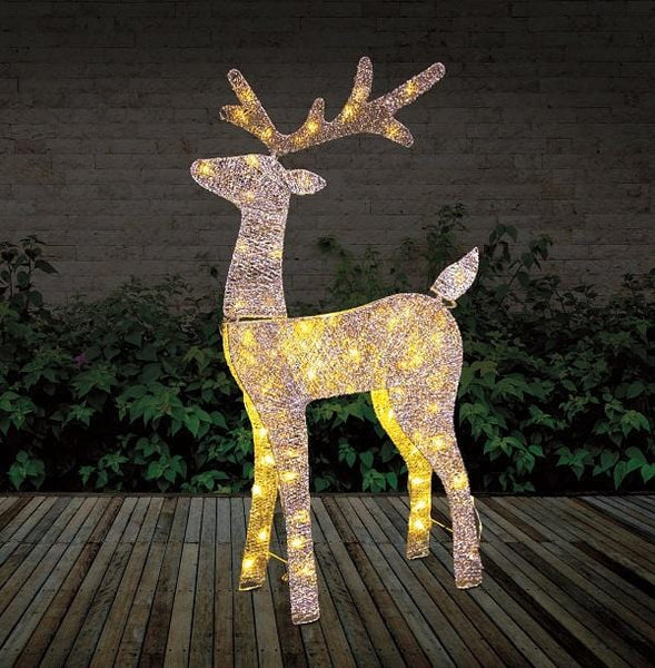 LED Glitter Thread Reindeer Gold or Silver with 80 LED Lights