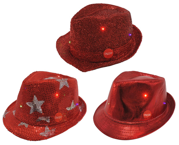 RED TRILBY LIGHT UP 3ASST