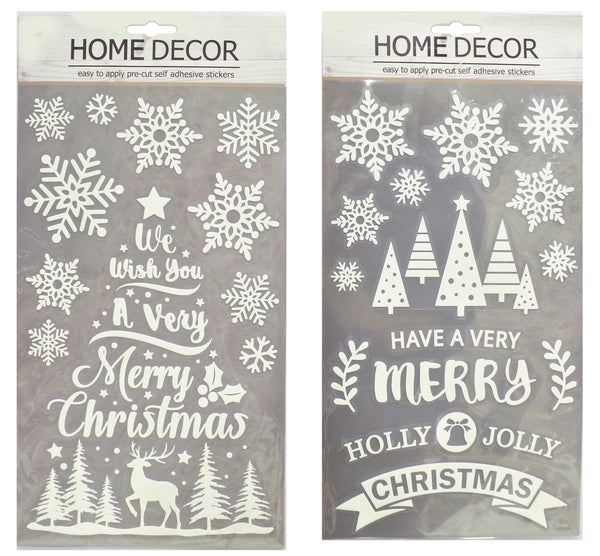 MERRY CHRISTMAS WHITE GLITTER STICKERS