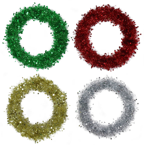 TINSEL WREATH WITH STARS AVALIBLE IN 2 COLOURS
