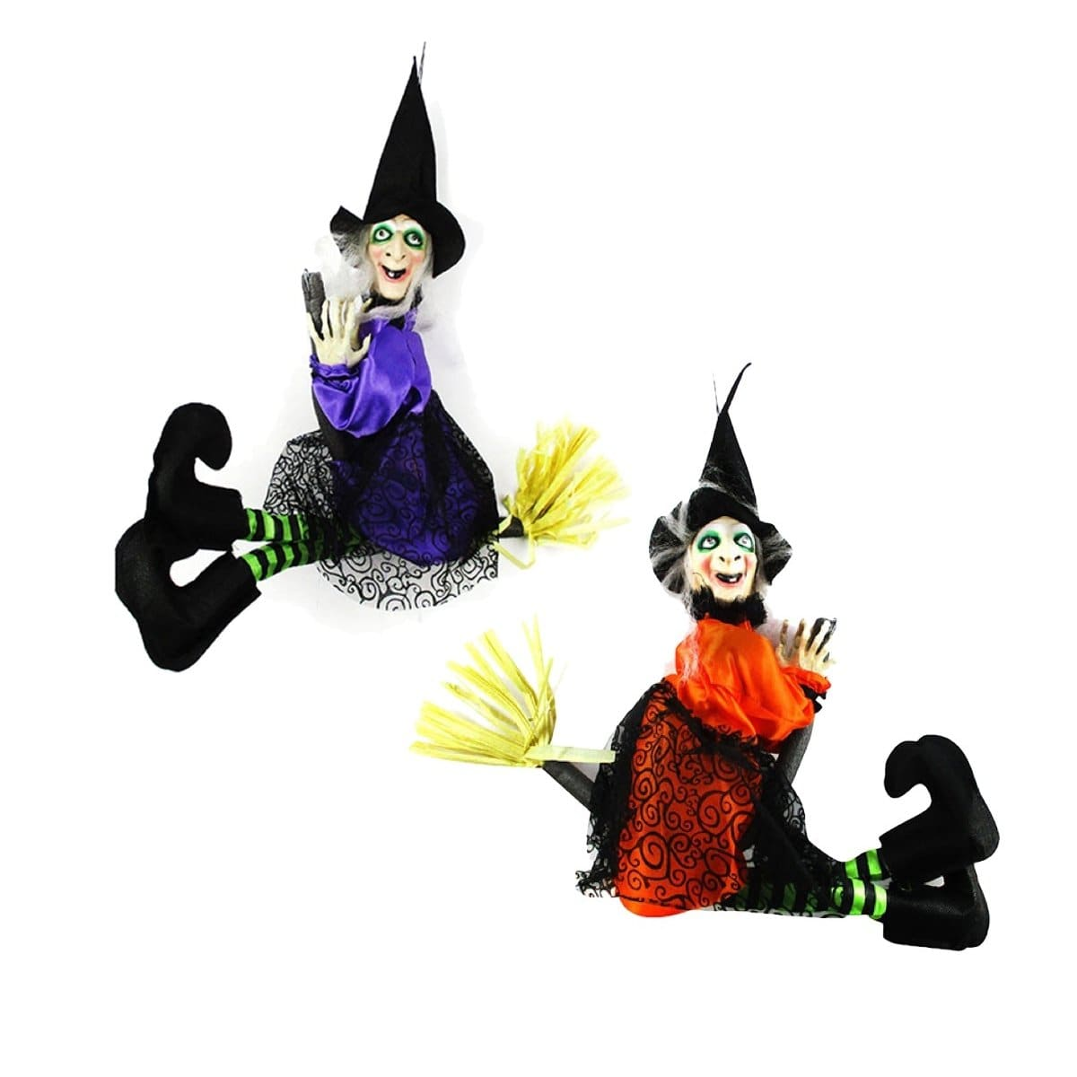 HALLOWEEN FLYING WITCH ON BROOM - Christmas World