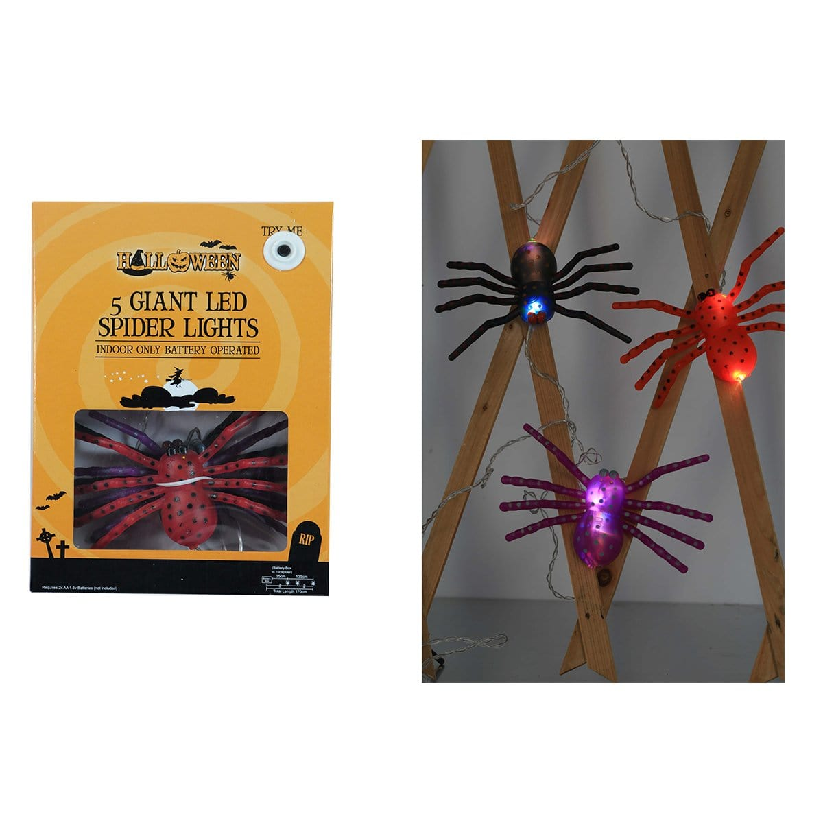 GIANT LED SPIDER LIGHTS 5PK - Christmas World