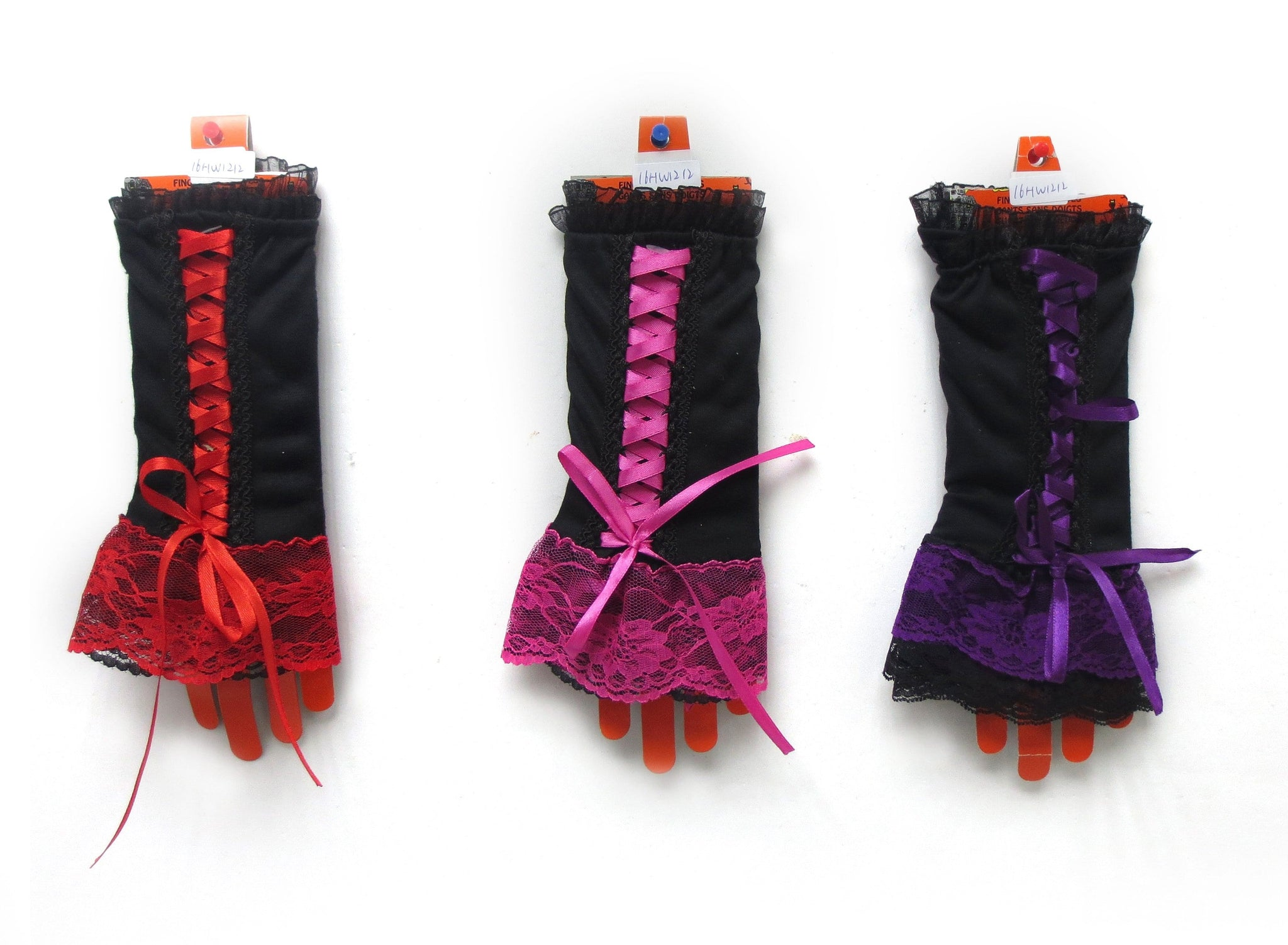 HALLOWEEN FINGERLESS CORSET GLOVES W/ LA - Christmas World