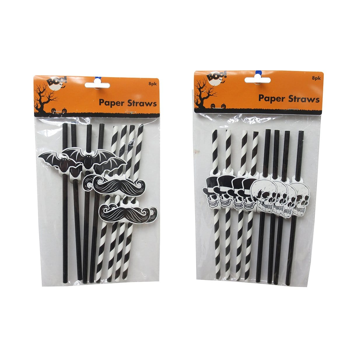 HALLOWEEN PAPER STRAWS 8PK - Christmas World