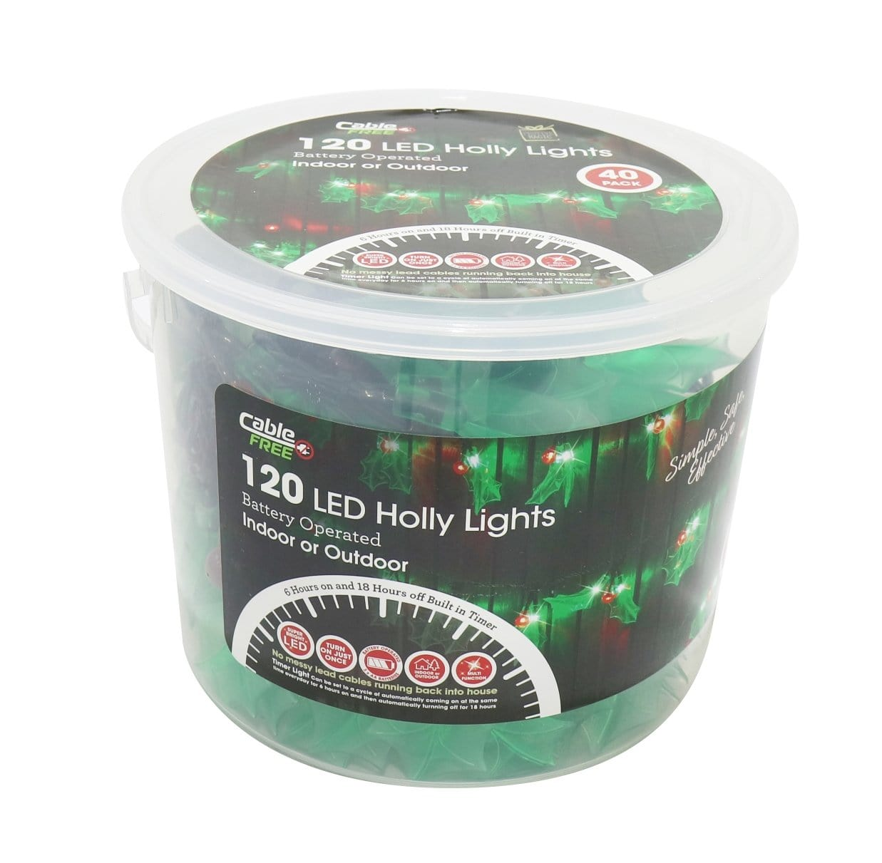 LED Holly Lights 40pc 120 B/O Timer