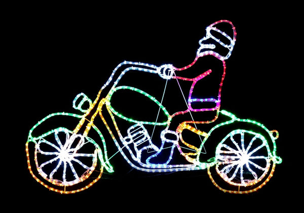 LED ROPELIGHT SANTA CUSTOM BIKE 133 x 91 CM