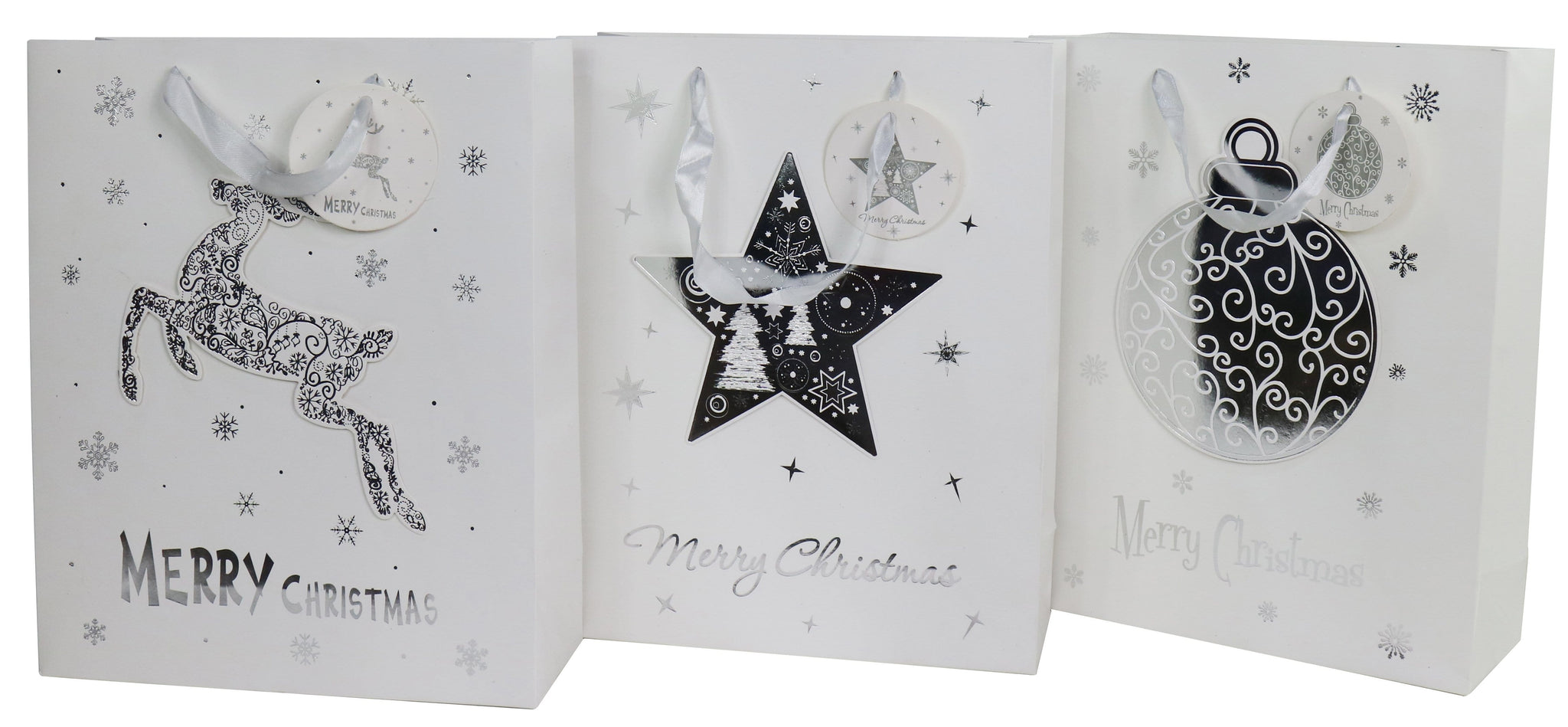 GIFT BAG 3D WHITE W/SILVER FOIL LARGE
