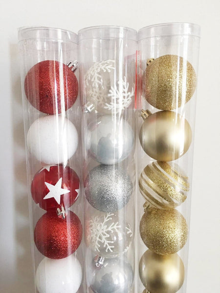 BAUBLE TUBES 60mm 12PC 3ASST - Christmas World