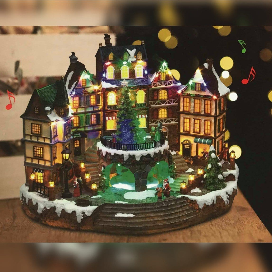 LED Christmas Town Scene with Large Tree