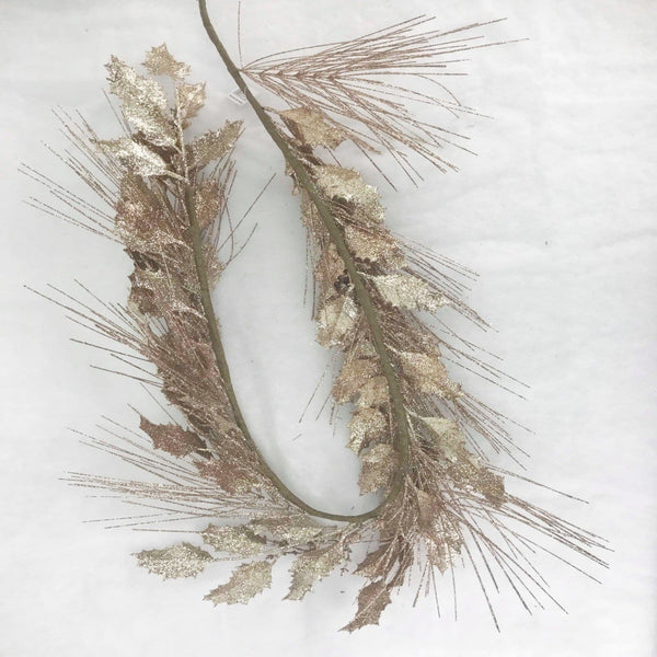 Pine and Leaf Glittering Garland - Champagne Gold - 140cm