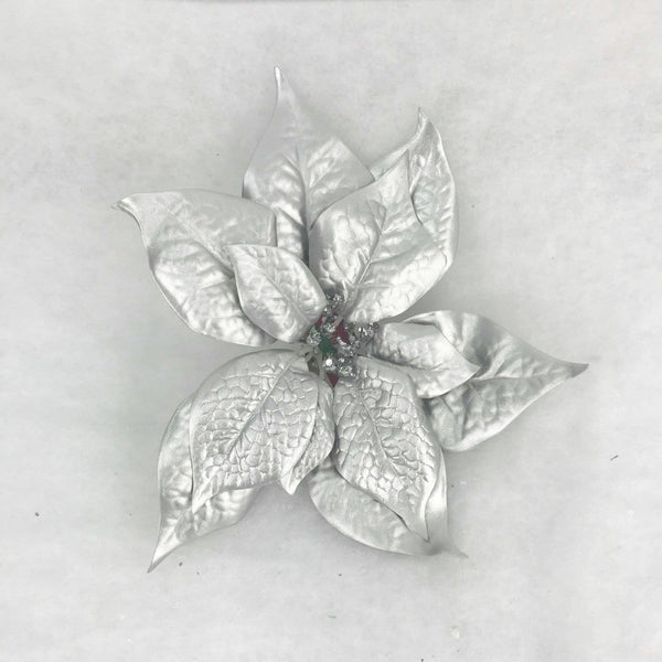 Precious Silver Poinsetta with Clip - 15cm
