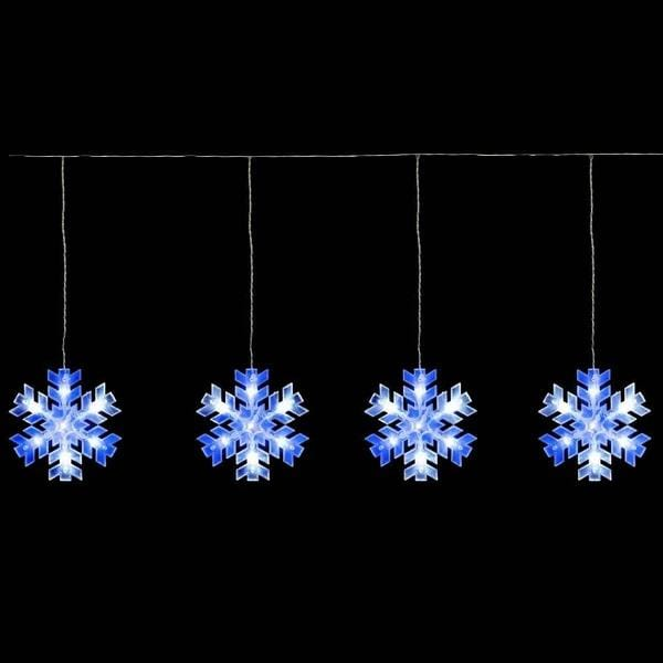 LED SNOWFLAKE STRINGS 10pc WHITE-BLUE curtain