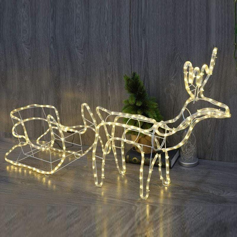 LED REINDEER WITH SLEIGH ROPELIGHT 1.2 METER TOTAL LENGTH