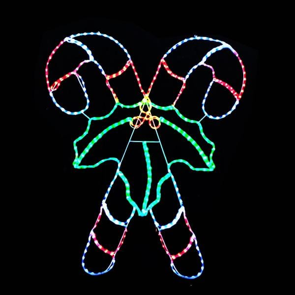 LED Rope Light Double Candy cane with Bow