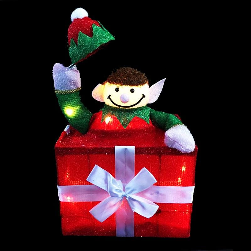 LED Tinsel Elf in Present
