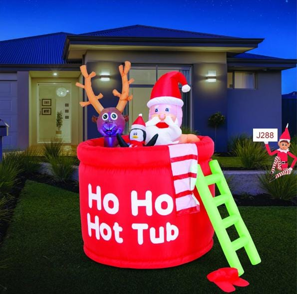 Airpower Santa in Hot Tub