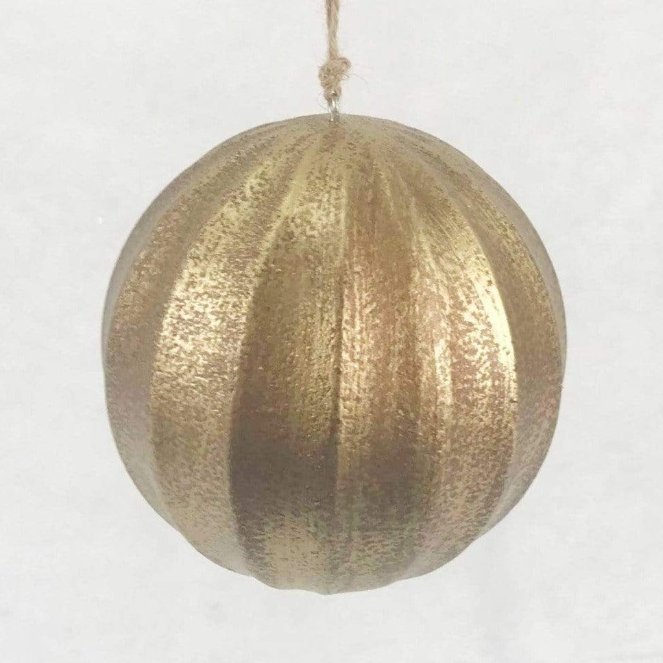 Wooden Fluted Ball - Gold