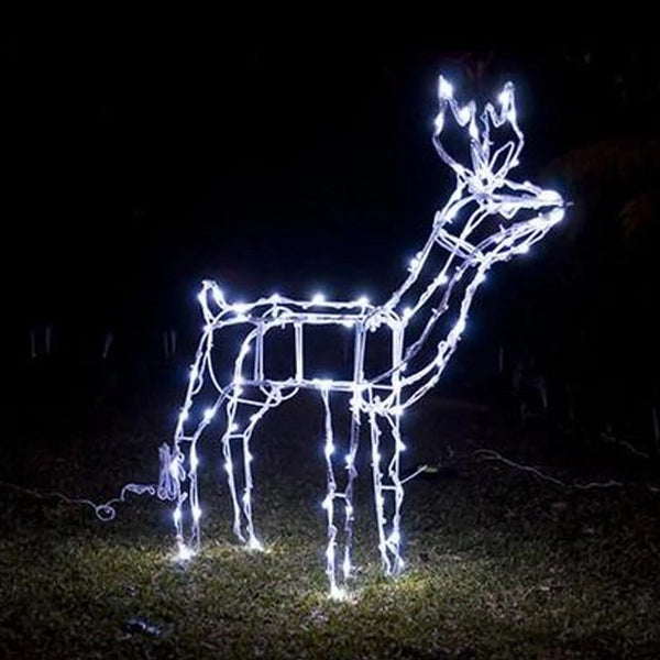 BACK IN STOCK: SOLAR FLASHING LED DEER 100LED FEEDING or STANDING - Christmas World