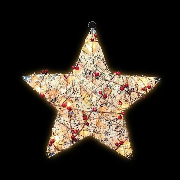 ON SALE: NEW ARRIVAL: LED VINTAGE BURLAP STAR 42cm