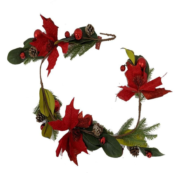 RED POINSETTIA WITH GREEN LEAVES GARLAND