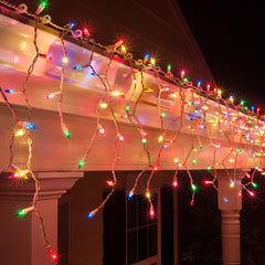 600 LED Icicle Lights 30M - Multi Colour