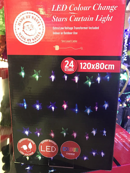 24 LED Colour Change Star Curtain Light - Christmas World