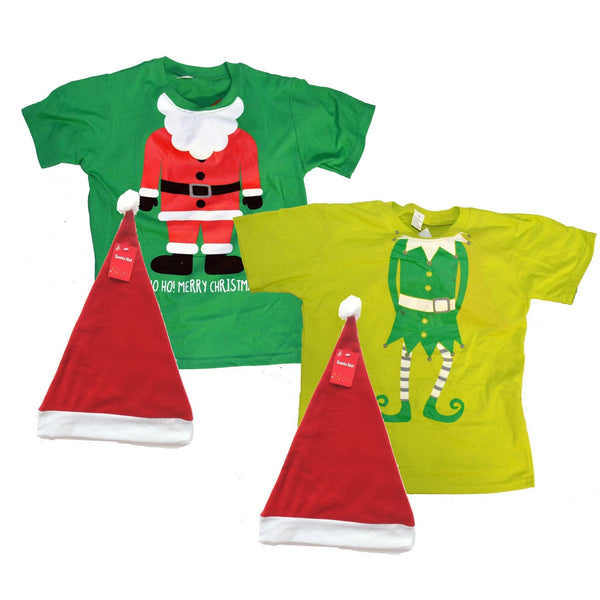 Kids Christmas TShirt w Santa Hat - Christmas World