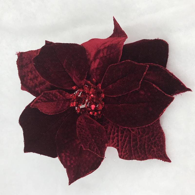 Single Burgundy Poinsettia Clip