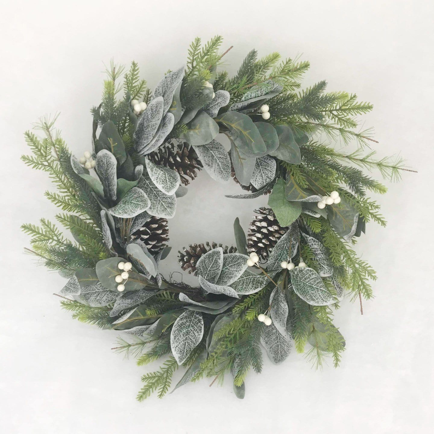 Pine and Leaf Green Wreath - 60cm