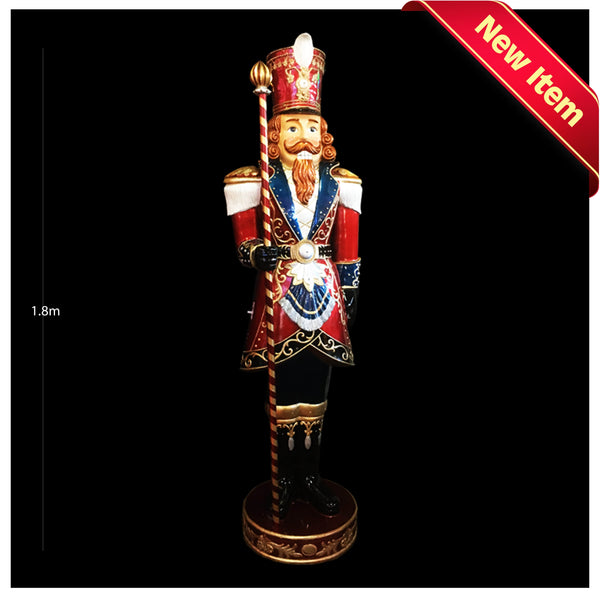 Lifesize Poly King Nutcracker With Music and Lights - Christmas World
