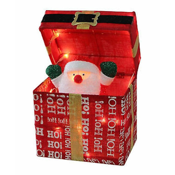 LED Tinsel Pop-Up Santa Present