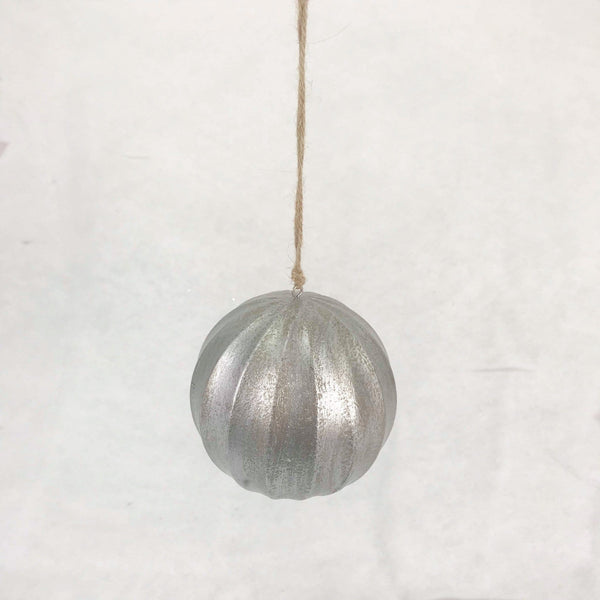 Wooden Fluted Ball - Silver