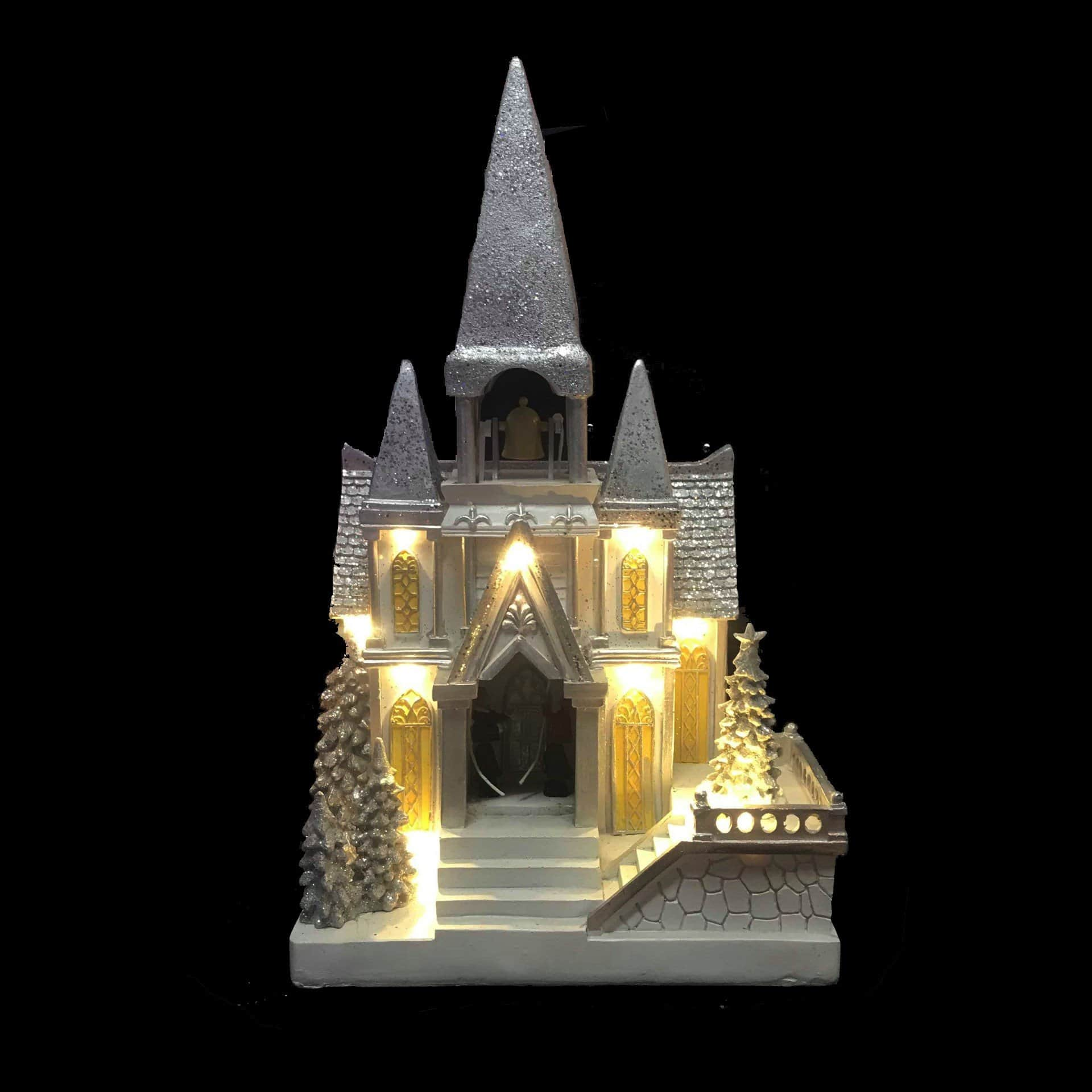 LED White and Silver Church with Christmas Tree