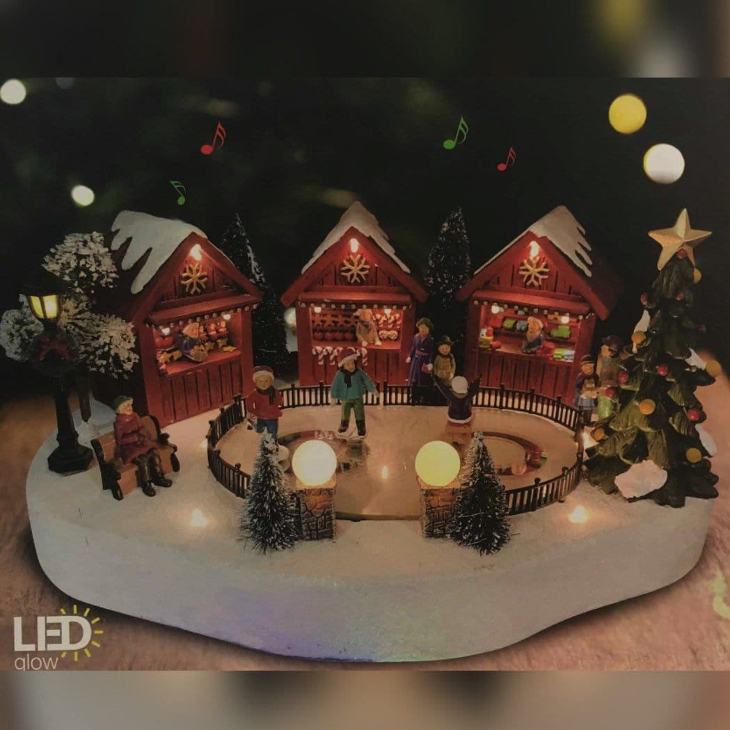 LED Winter Scene with Skiing Kids
