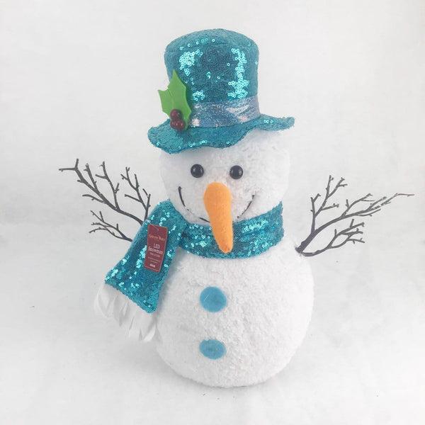 LED Blue Battery Operated Snowman - 60cm