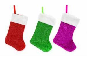 STOCKING TINSEL/SATEEN WITH PLUSH