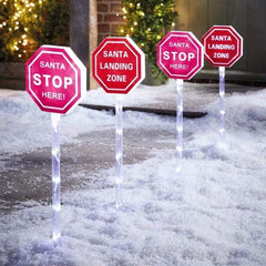 LED Santa Stop Here Path Lights