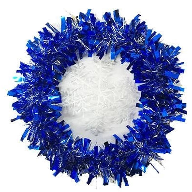 Tinsel Wreath With Glitter Snowflake 25cm