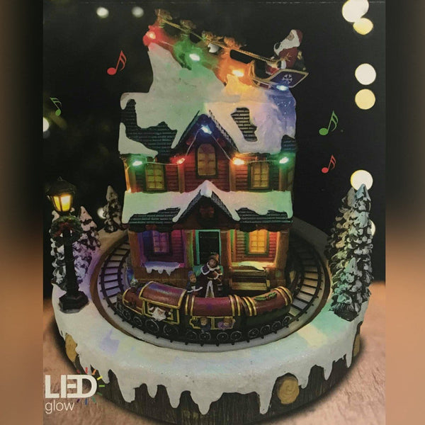 LED House with Rotating Train