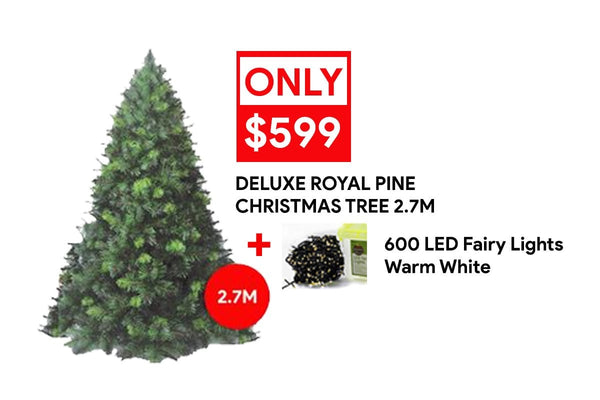ON SALE: 2.7 Deluxe Royal Pine + 600 LED Fairy Lights Warm White