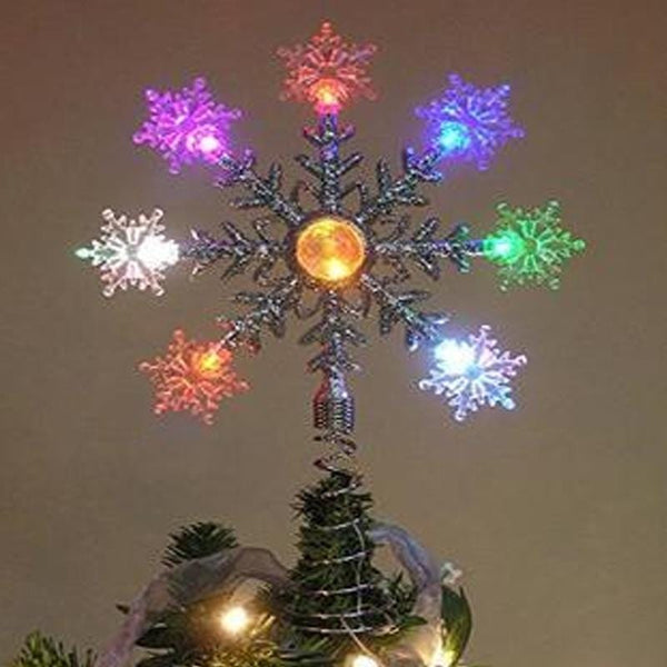 LED Color Changing Flashing Snowflake Tree Topper 30cm