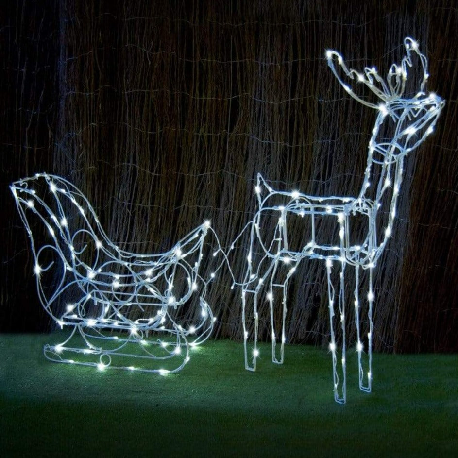 BACK IN STOCK: WON'T LAST LONG: SOLAR LED SLEIGH WITH DEER 160LED WHITE - Christmas World
