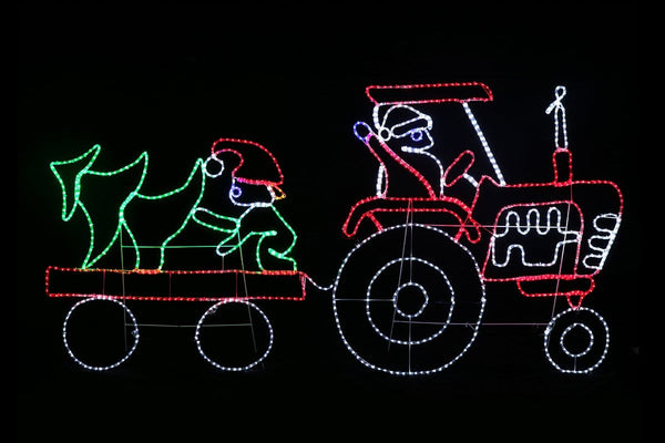LED ROPE LIGHT SANTA TRACTOR & TRAILER Giant Size: 2Meter