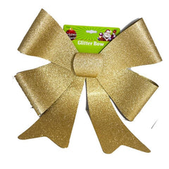 LARGE GLITTER BOW GOLD - Christmas World