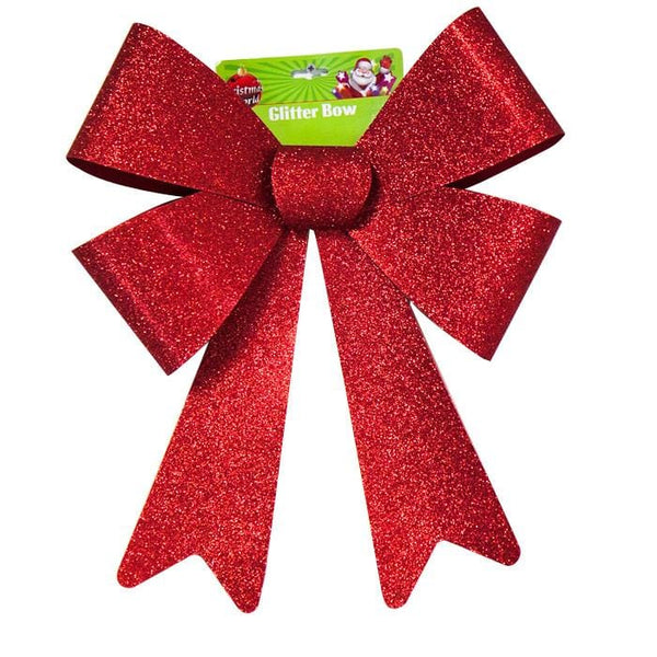 LARGE GLITTER BOW RED - Christmas World