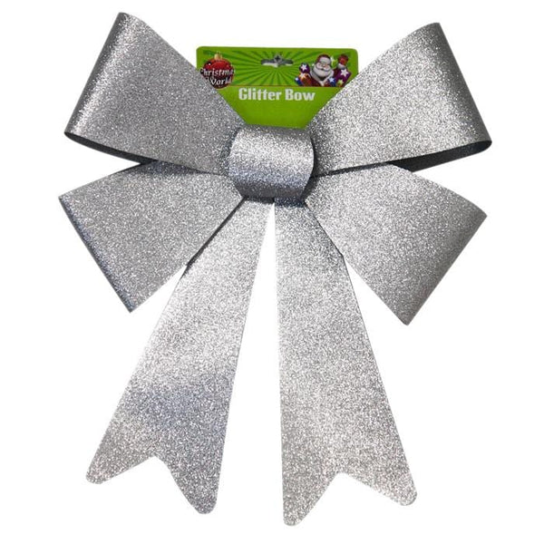 LARGE GLITTER BOW SILVER - Christmas World